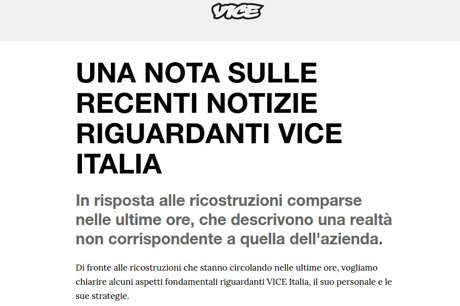 nota vice italia licenziamenti