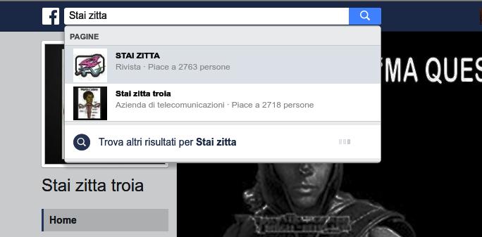 Stai zitta troia su facebook