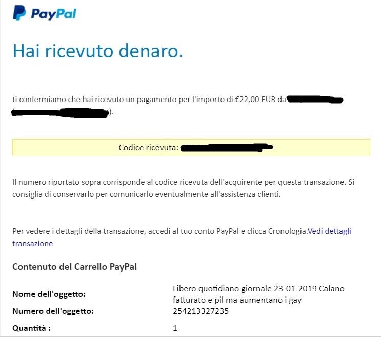Il pagamento ricevuto